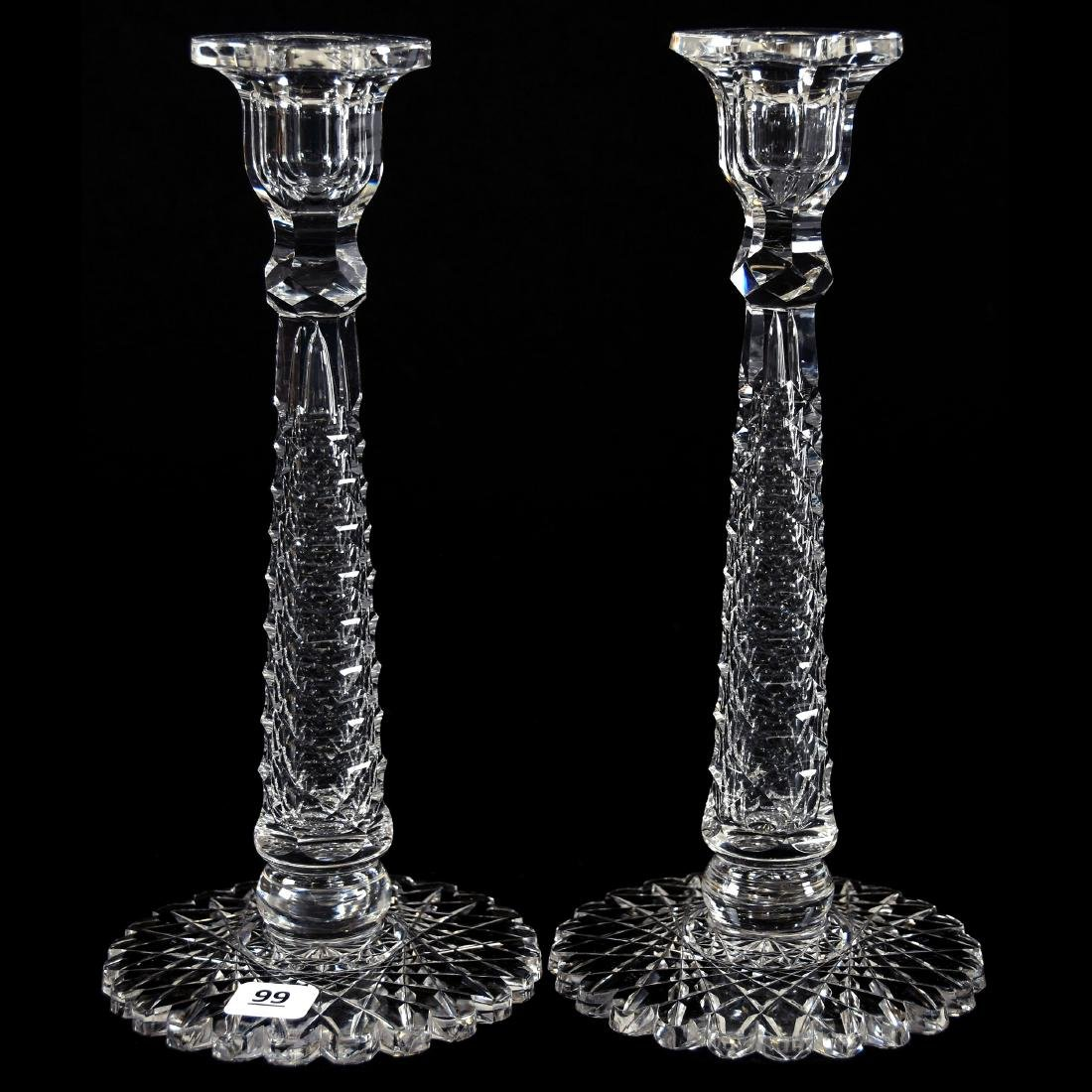 Pair Candlesticks, St. Louis Diamond Stem