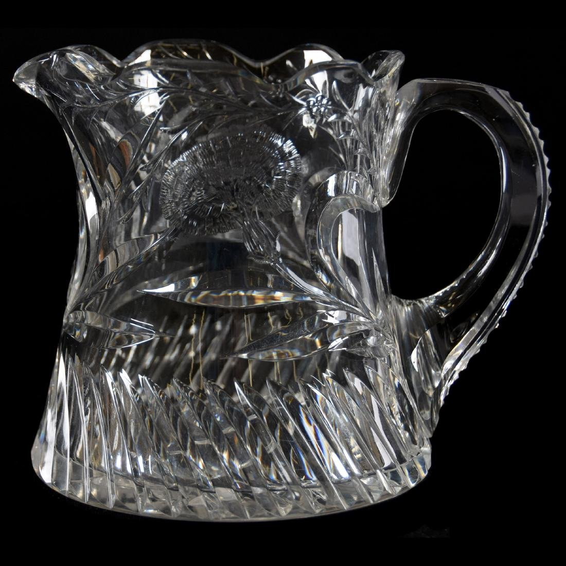 Cider Pitcher, Signed Hawkes, Engraved Carnation