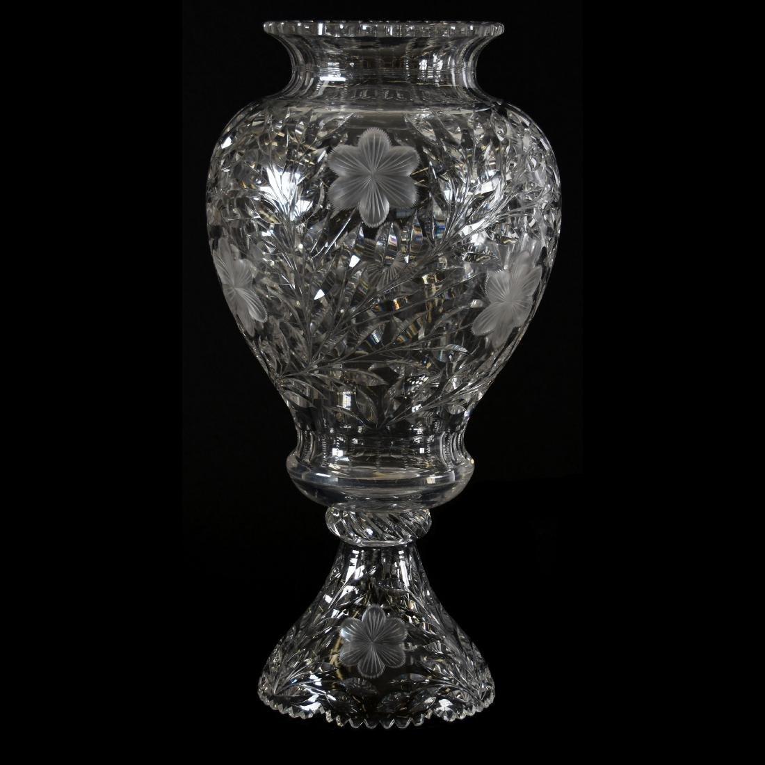 Two-Part Vase, Engraved Floral Motif