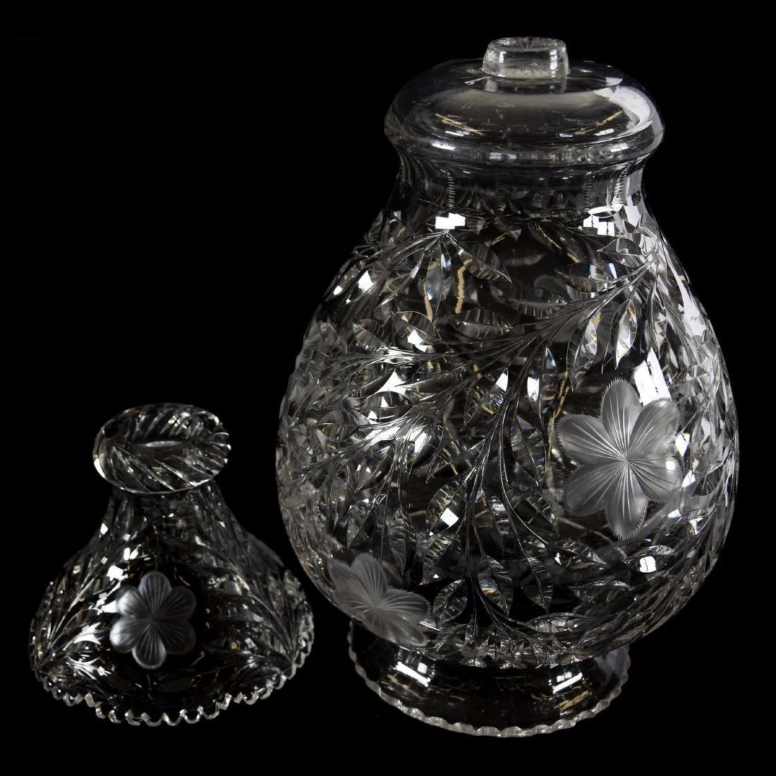 Two-Part Vase, Engraved Floral Motif - 2