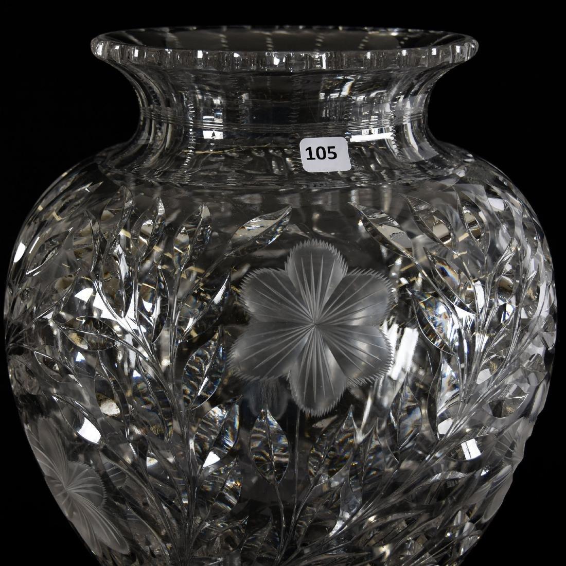 Two-Part Vase, Engraved Floral Motif - 4