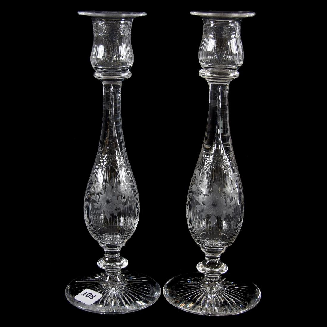 Pair Candlesticks, Engraved Floral