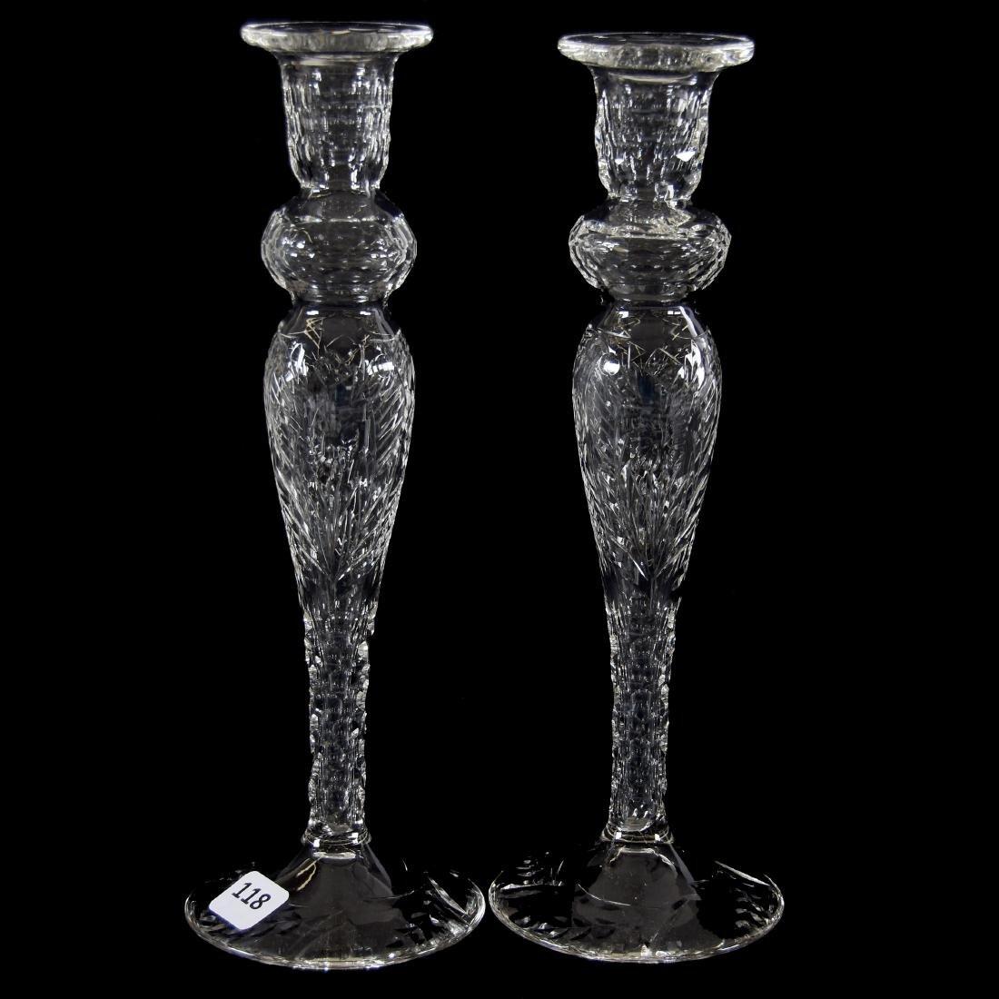 Pair Candlesticks, Engraved Floral