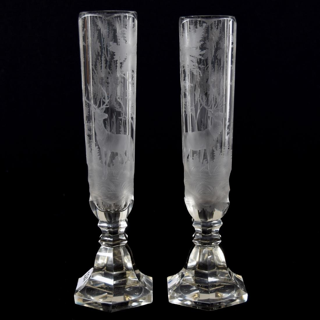 Pair Bohemian Vases, Engraved Scene