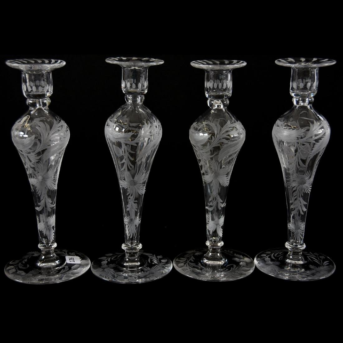 (2) Pair Candlesticks, Signed Libbey, Engraved Floral