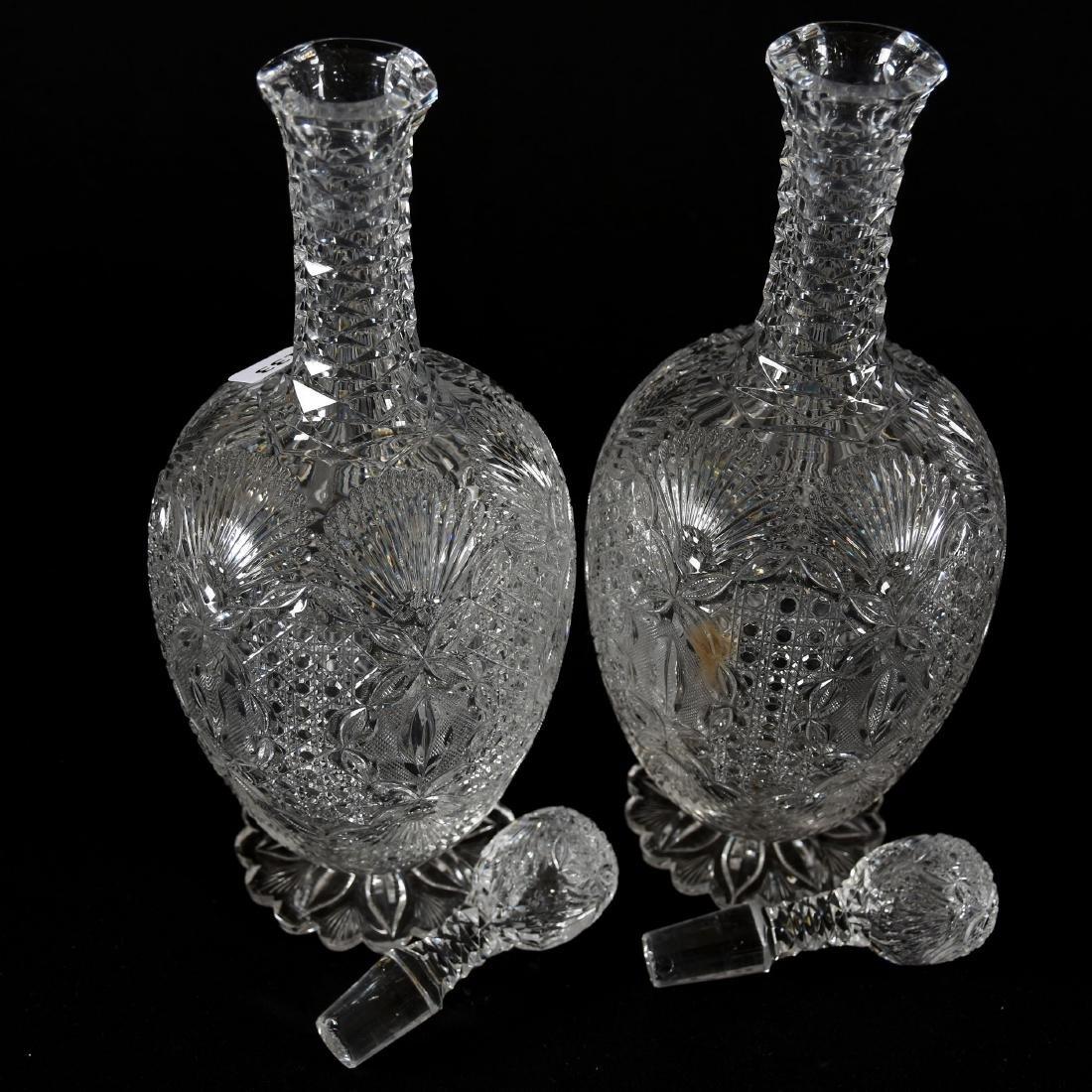 Pair Decanters, Cane ,Vesica, Strawberry Diamond & Fan - 2