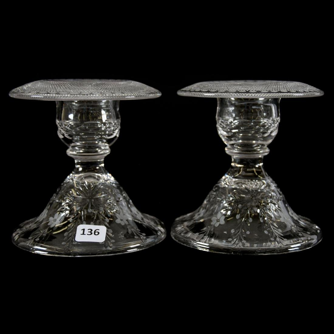 Pair Candlesticks, Engraved Floral Garland Motif