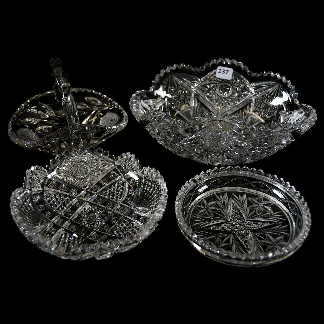 (4) Assorted American Brilliant Cut Glass Items