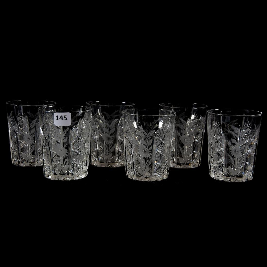 (6) Tumblers, Engraved Floral