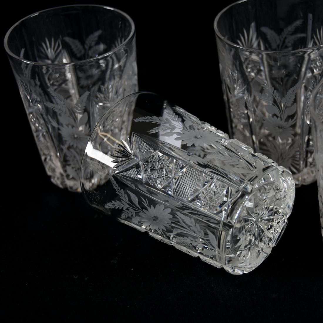 (6) Tumblers, Engraved Floral - 3
