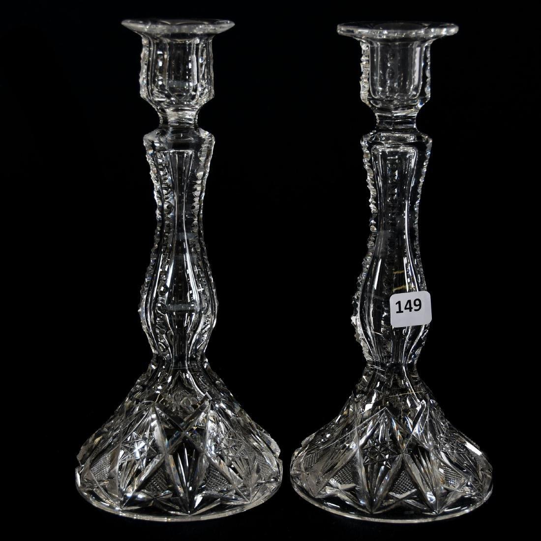 Pair Candlesticks, Strawberry Diamond & Fan