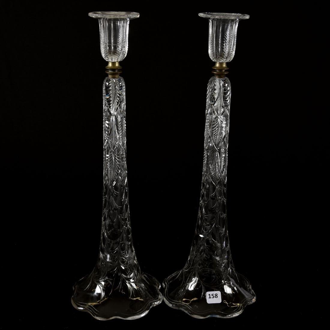 Pair Candlesticks, Engraved Fern, Vine & Floral