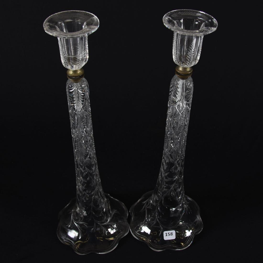 Pair Candlesticks, Engraved Fern, Vine & Floral - 2