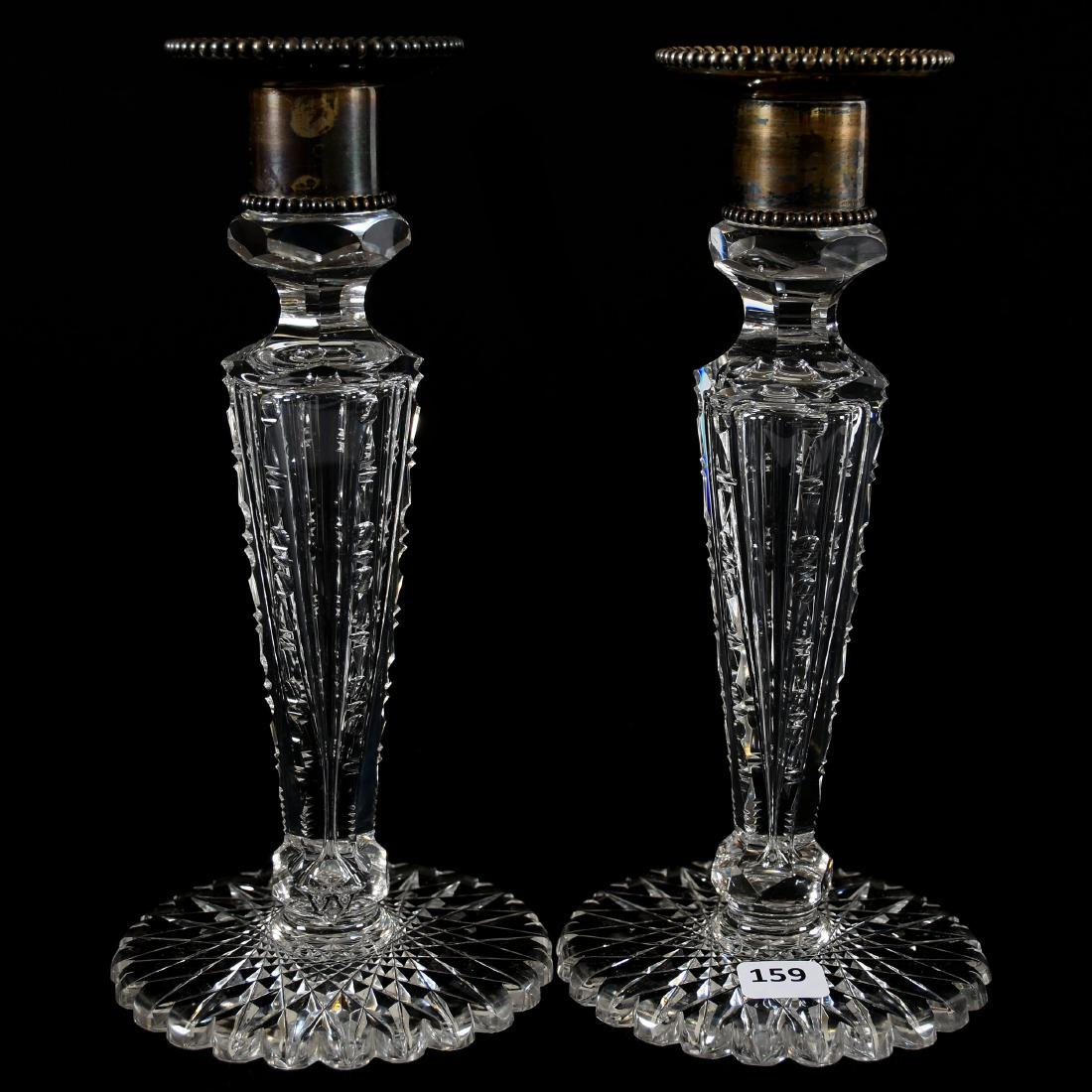 Pair Candlesticks, Meriden, Six-Sided Notched Stem