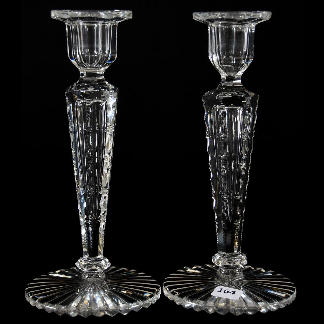 Pair Candlesticks, Signed Hawkes, Six-Sided Stem