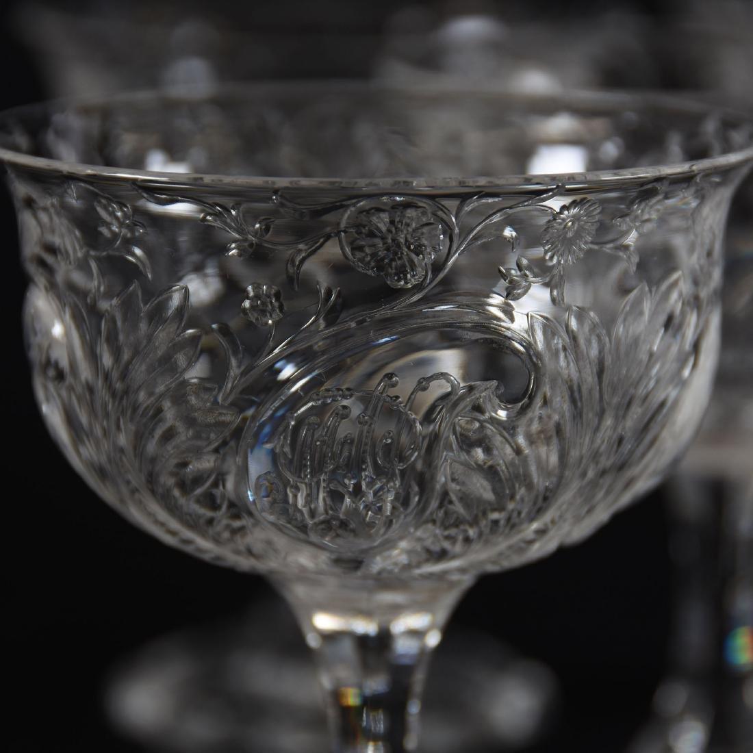 (9) Champagne Stems, Rock Crystal, Medallion Design - 3