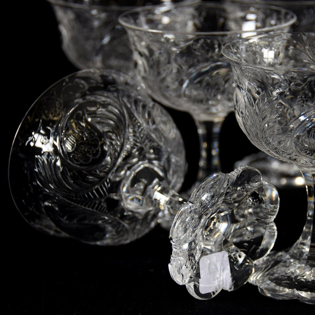 (9) Champagne Stems, Rock Crystal, Medallion Design - 4