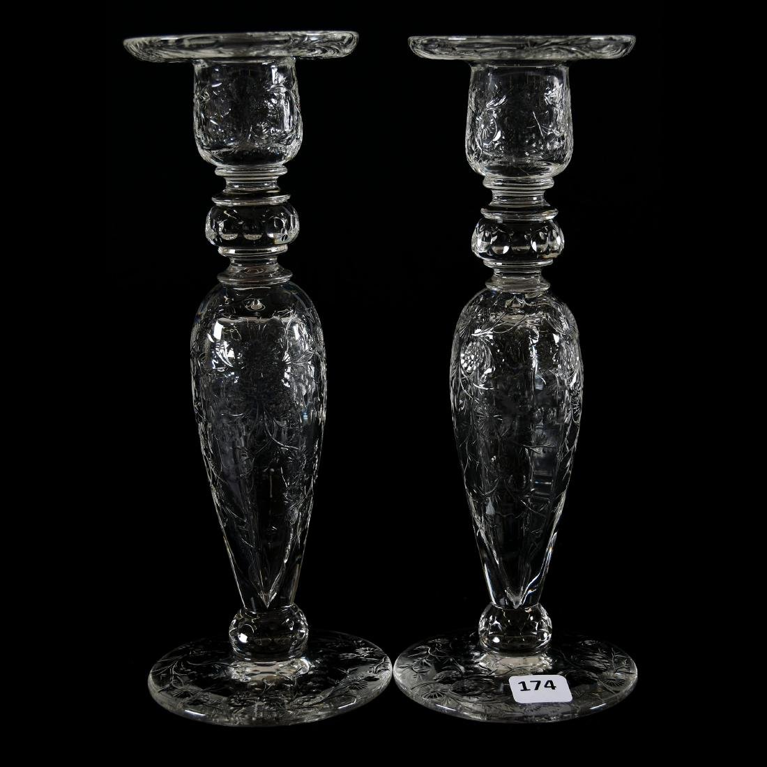 Pair Candlesticks, Rock Crystal, Engraved Floral