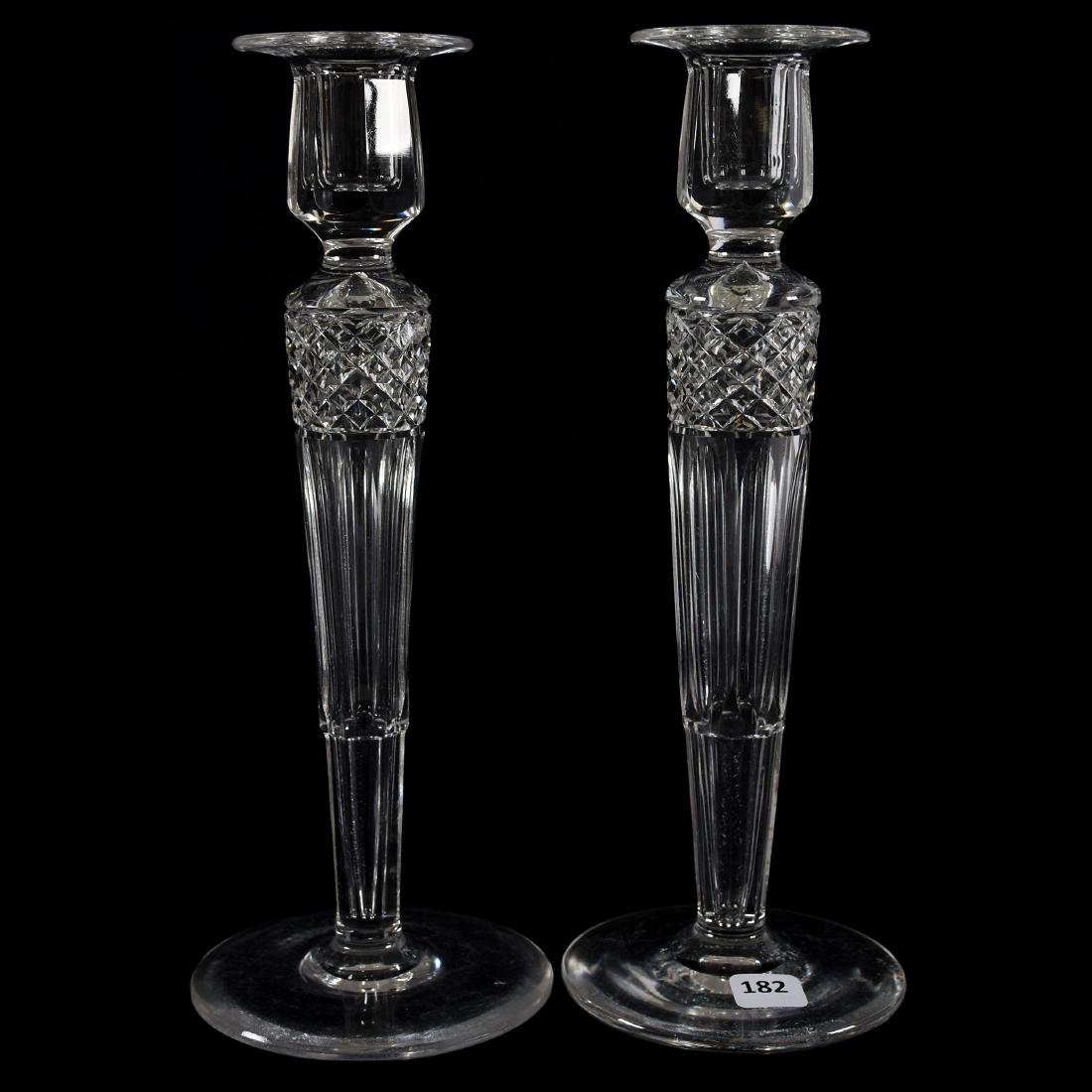 Pair Candlesticks, Signed Hawkes, Hollow Stem Diamond
