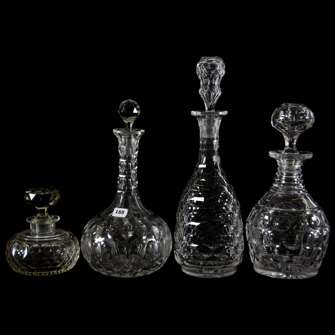 (4) Decanters, Various