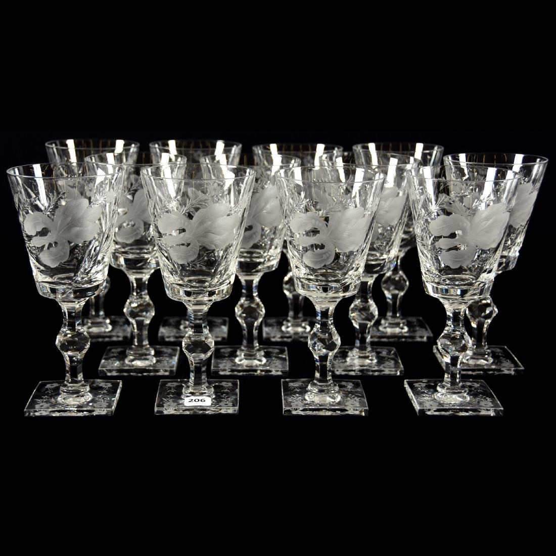 (12) Goblets, Signed Hawkes, Satin Iris Pattern