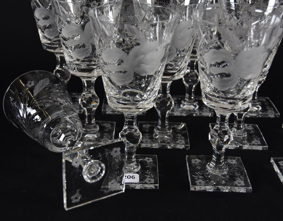 (12) Goblets, Signed Hawkes, Satin Iris Pattern - 3