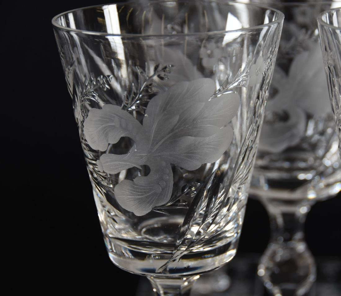 (12) Goblets, Signed Hawkes, Satin Iris Pattern - 4