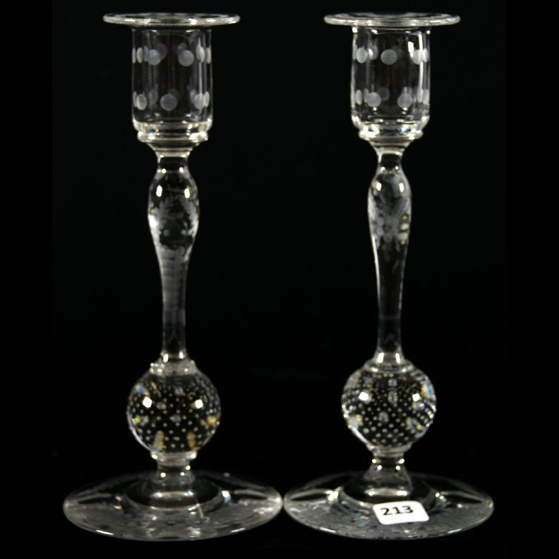 Pair Candlesticks, Pairpoint, Engraved Floral