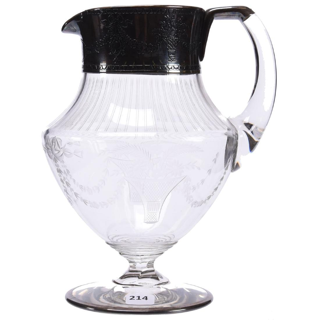 Pitcher, Engraved Floral Garland Motif