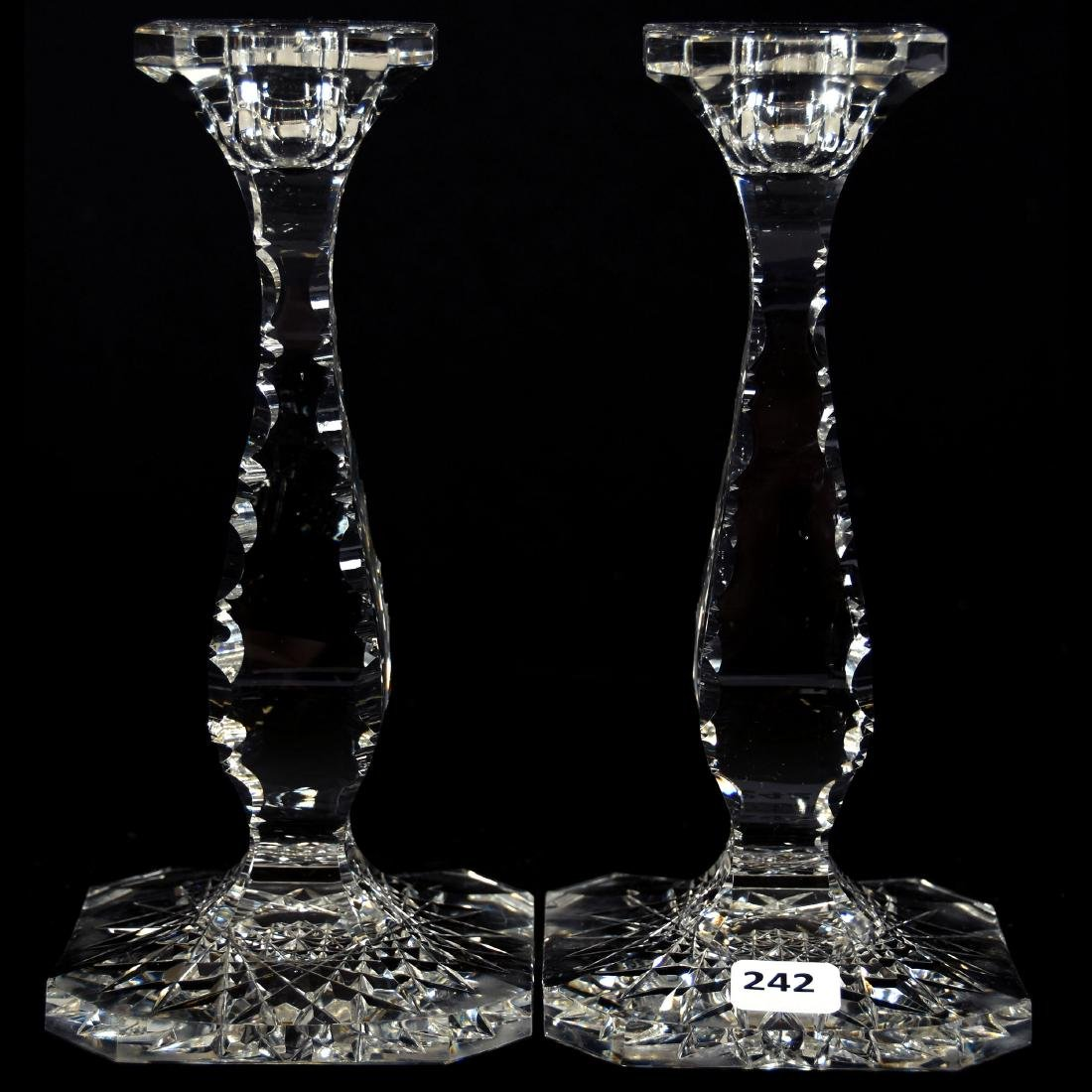 Pair Candlesticks, Solid Stem, Notched Corners