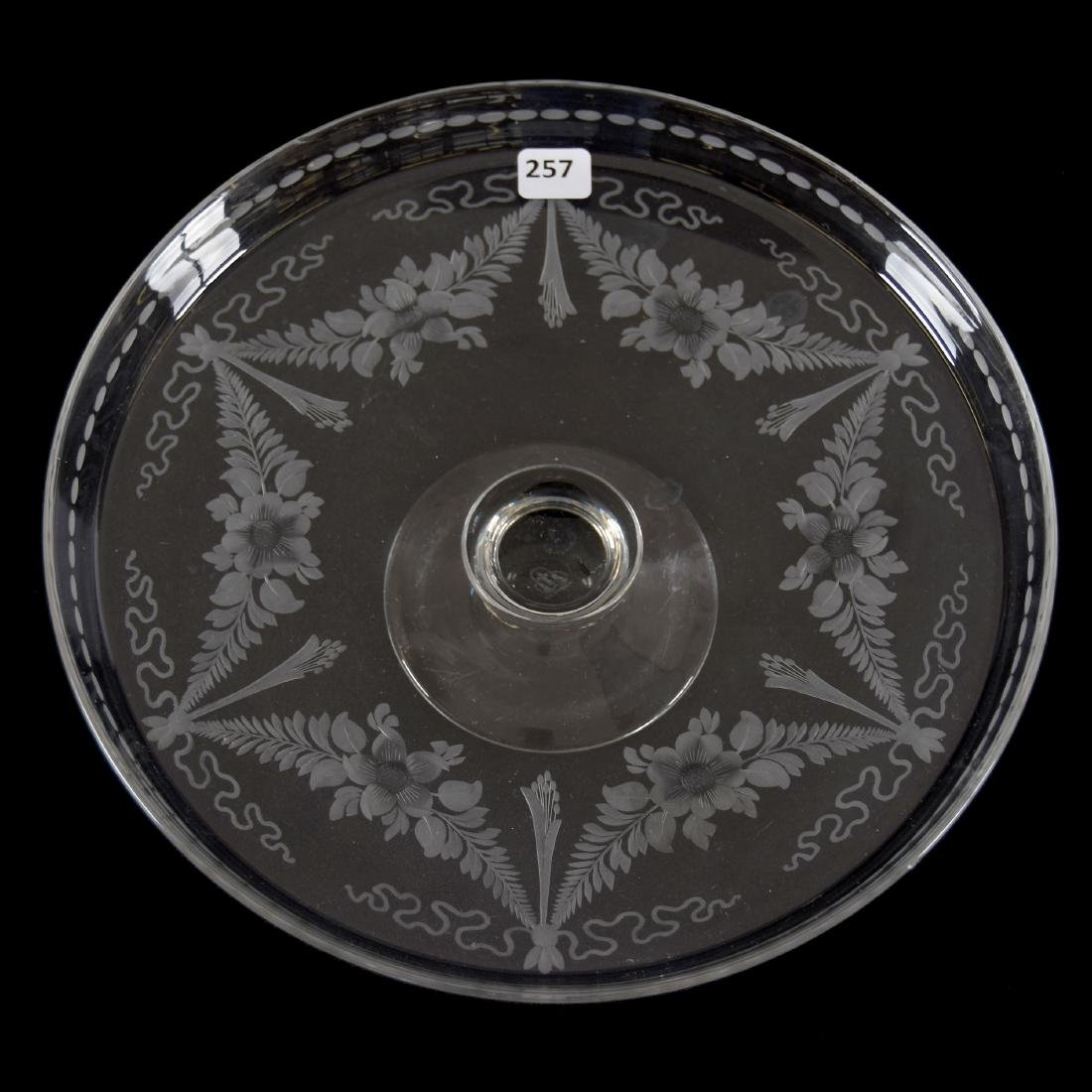 Cake Stand, Signed Hawkes, Engraved Floral Garland
