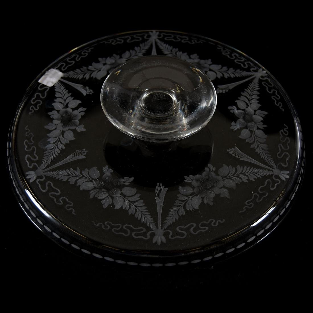 Cake Stand, Signed Hawkes, Engraved Floral Garland - 3