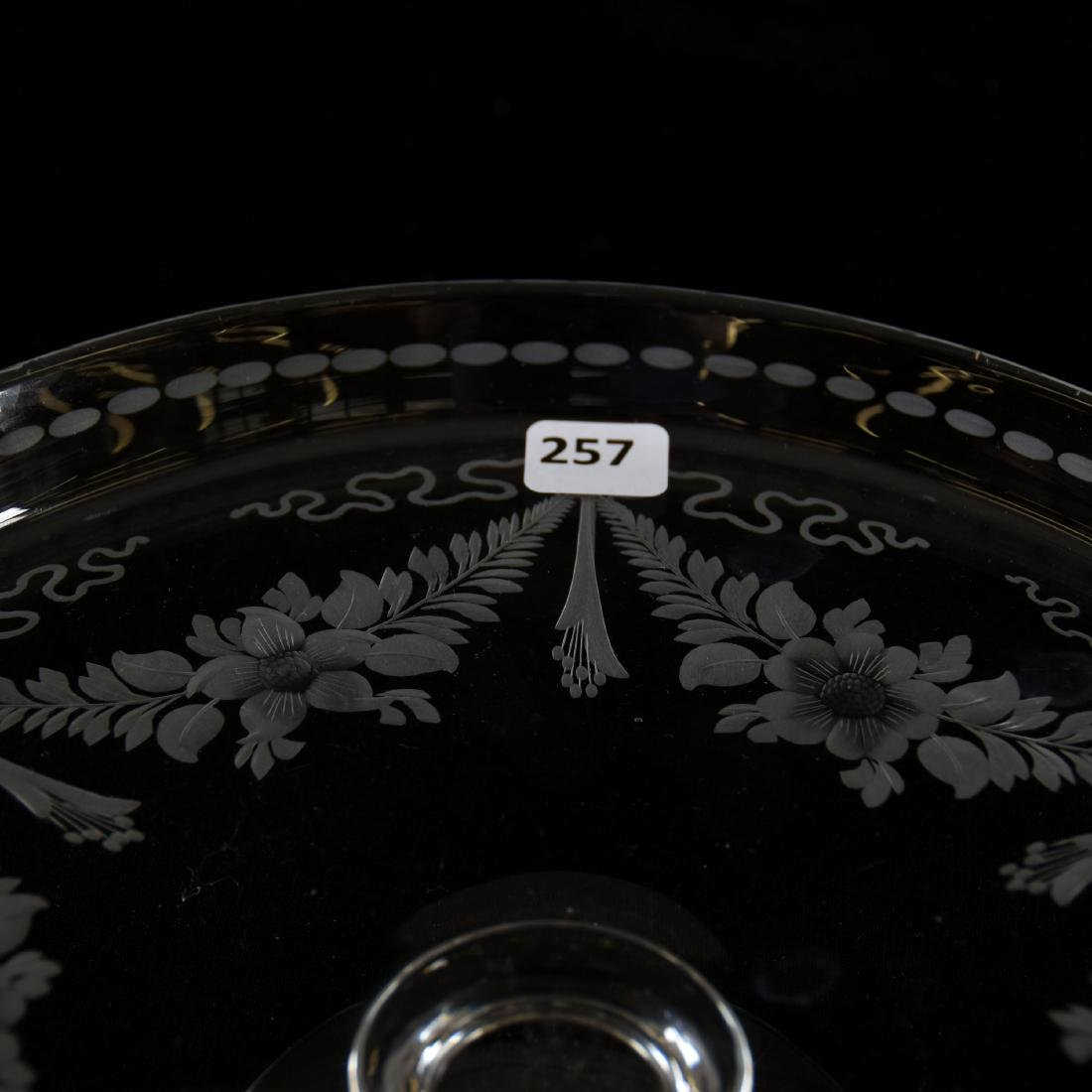 Cake Stand, Signed Hawkes, Engraved Floral Garland - 4