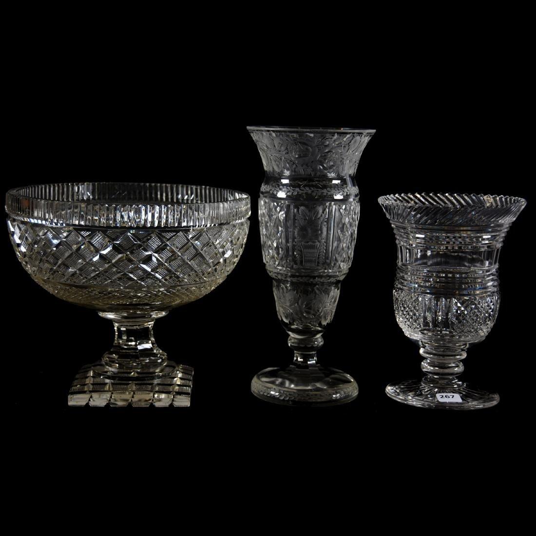 (3) Assorted Brilliant Period Cut Glass Items