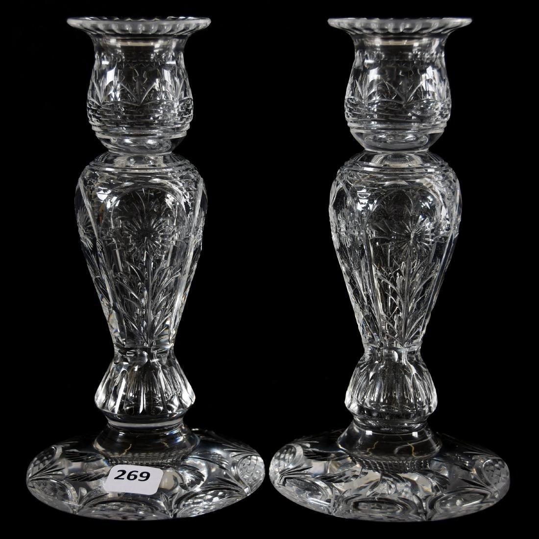 Pair Candlesticks, Engraved Floral Motif