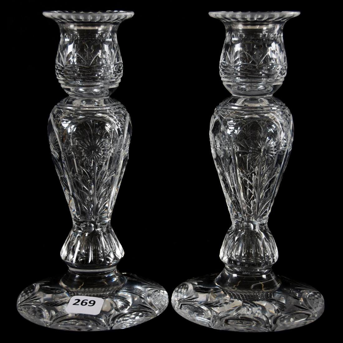 Pair Candlesticks, Engraved Floral Motif