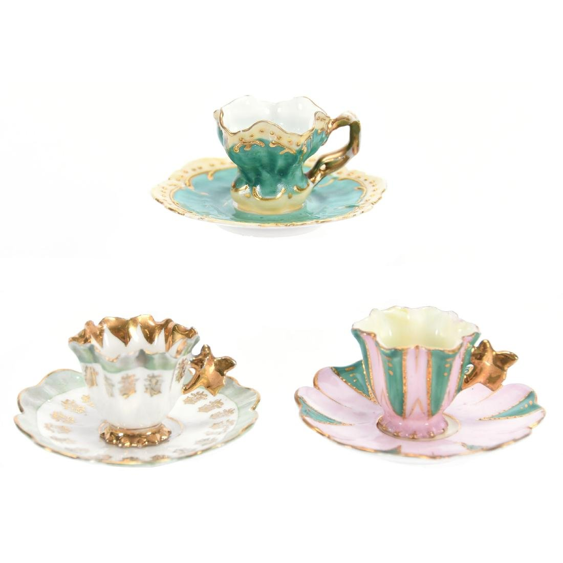 (3) Miniature Cups & Saucers, Unmarked R.S. Prussia