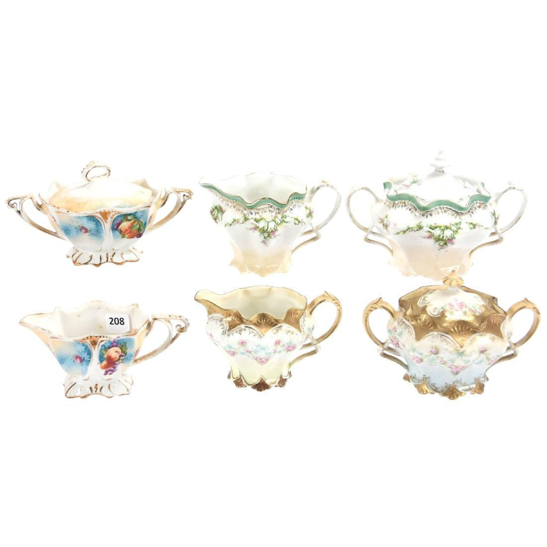 (3) Creamer & Sugar Sets, Marked R.S. Prussia