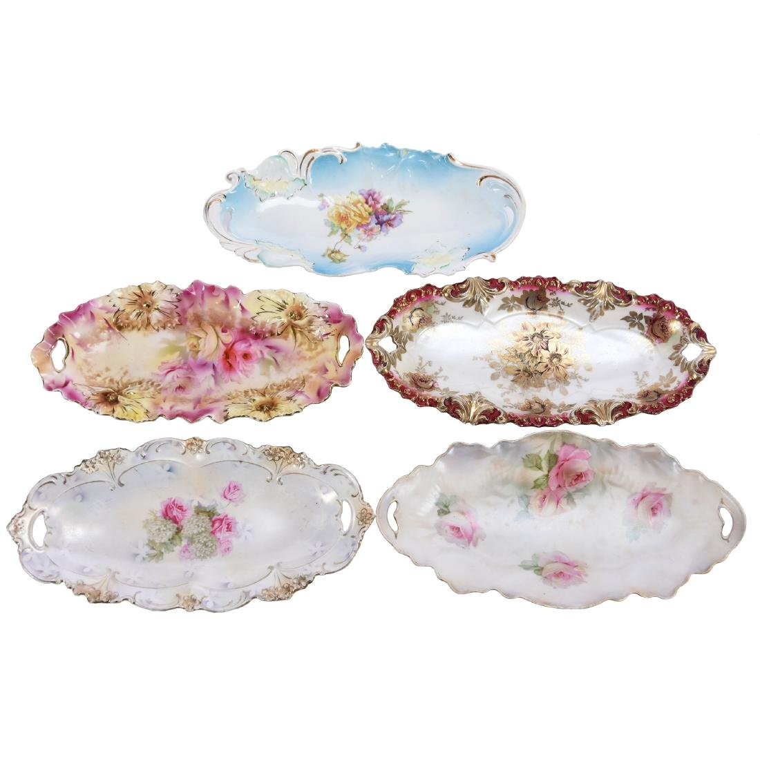 (5) Relish Trays, Marked R.S. Prussia