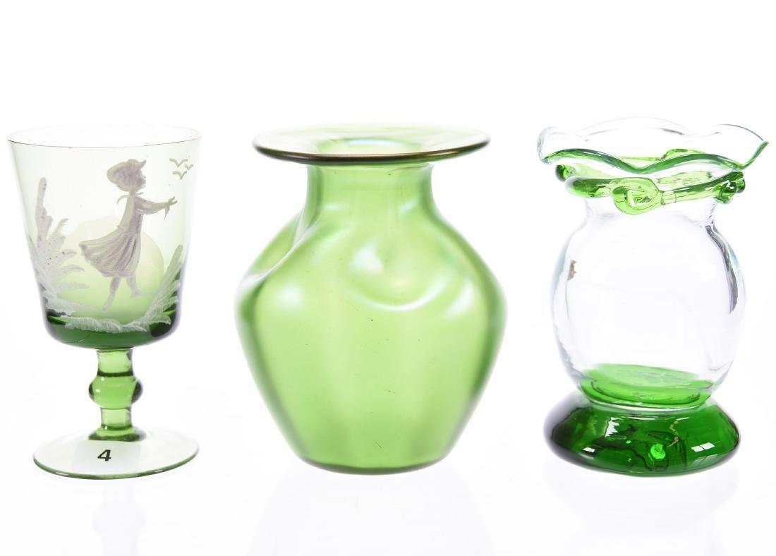 (3) Green Art Glass Items