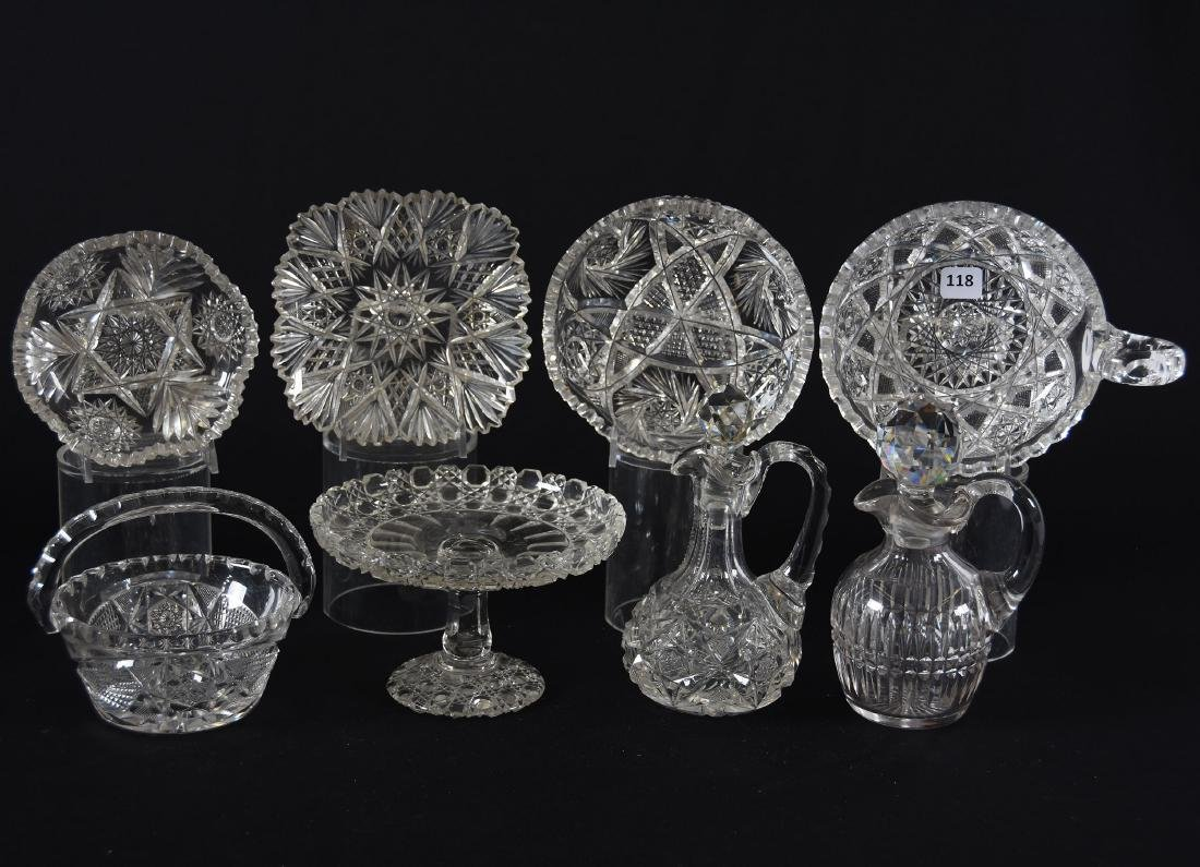 (8) Assorted Cut Glass Items
