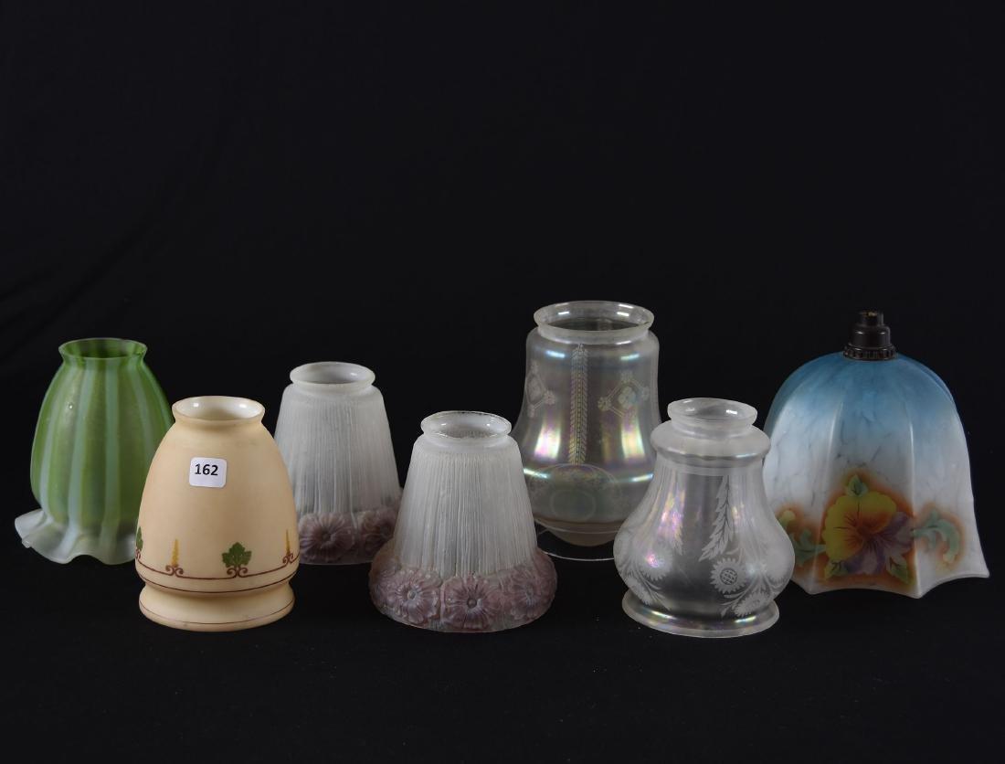 (7) Assorted Art Glass Light Shades