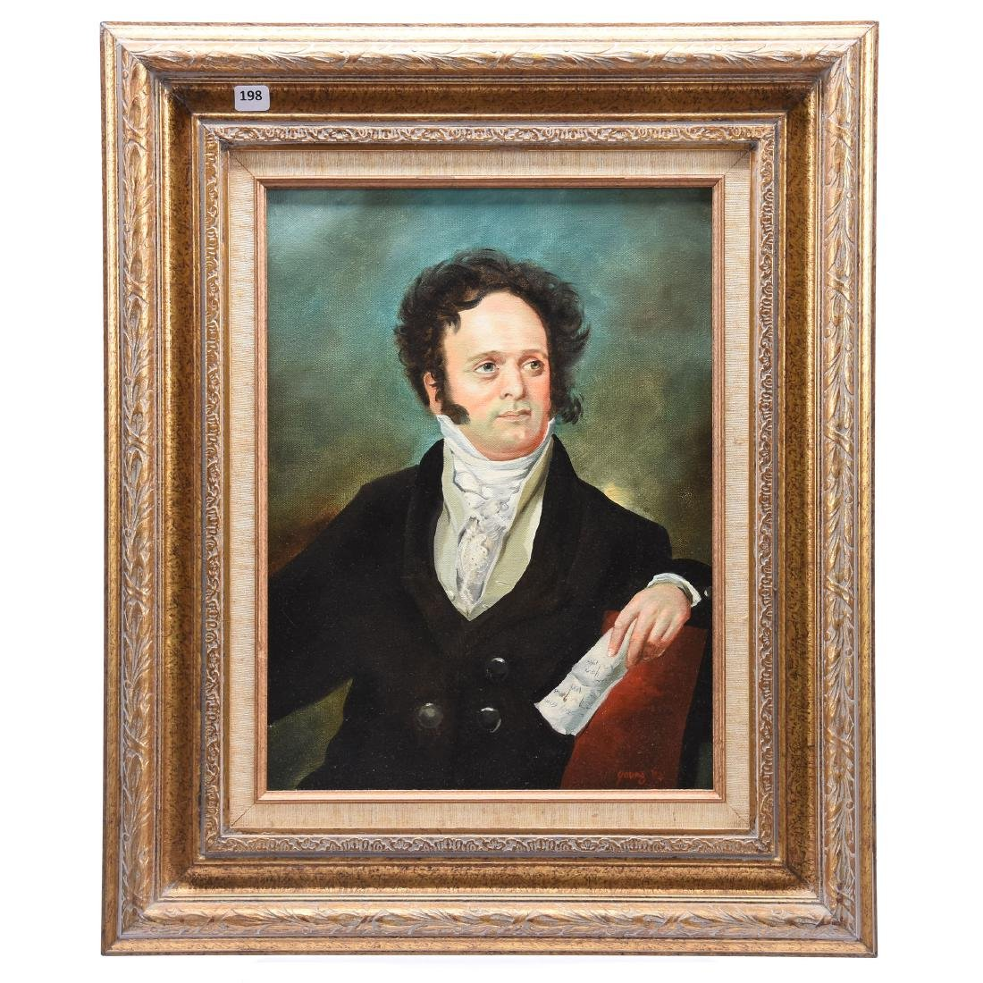 Oil Painting on Canvas, Signed Young, Man in Suit