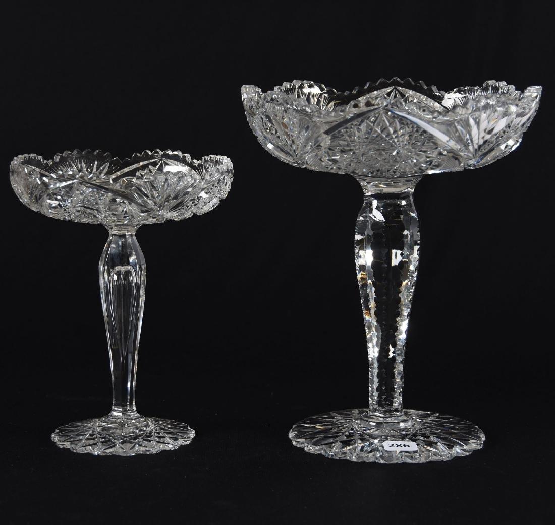 (2) Compotes, American Brilliant Period Cut Glass