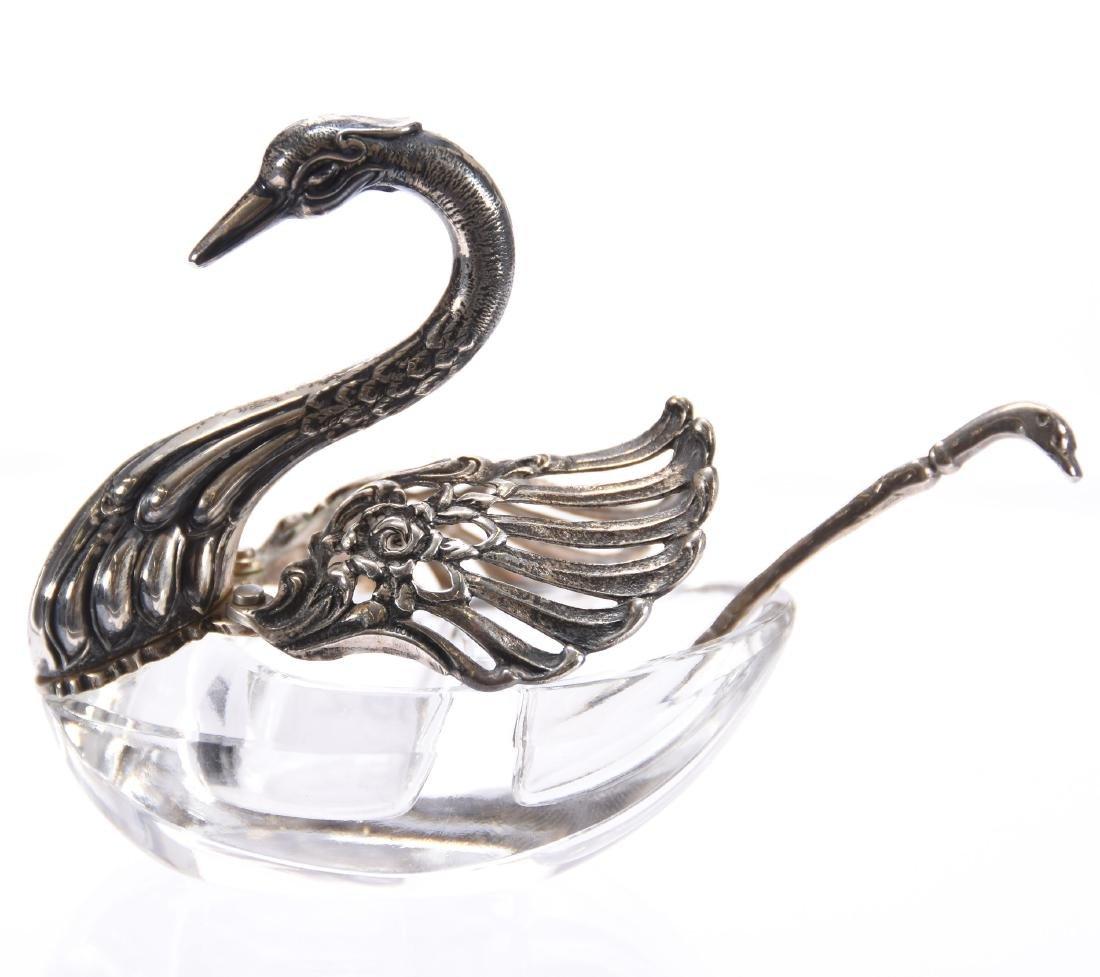Figural Salt Dip, Marked Sterling Silver, Swan