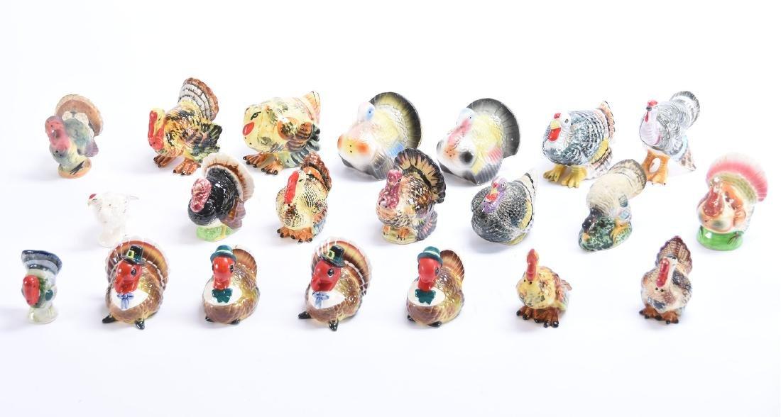 (21) Assorted Salt & Pepper Shakers, Figural Turkey