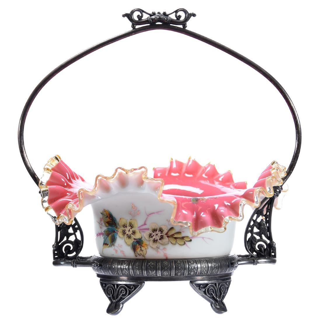Victorian Art Glass Brides Basket