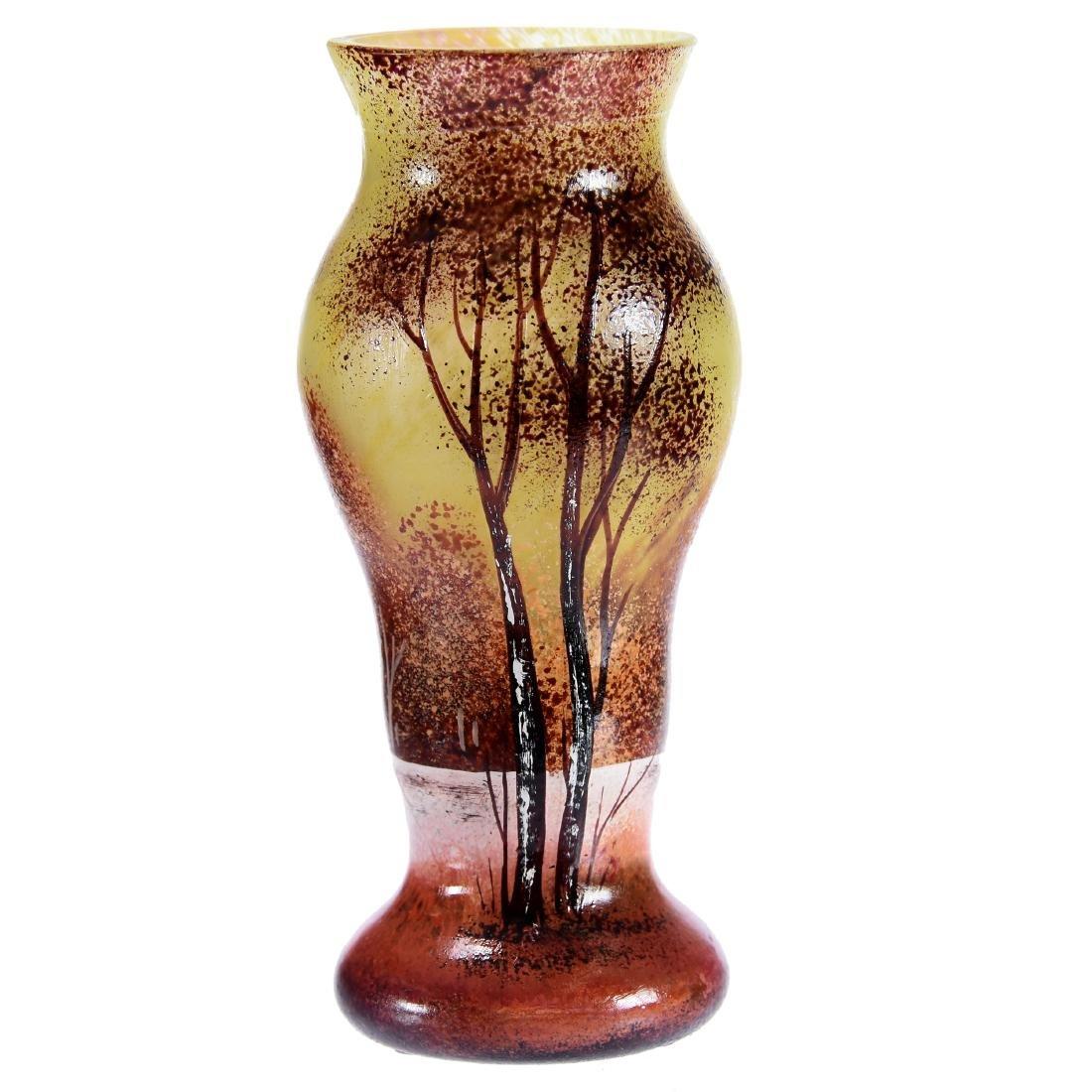 Vase Signed Daum Nancy French Enamel Art Glass