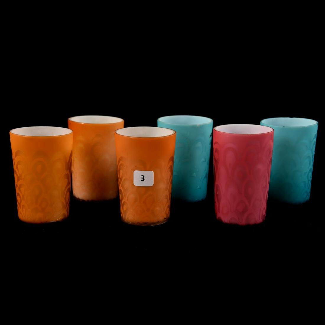 (6) Mother of Pearl Satin Glass Art Glass Tumblers