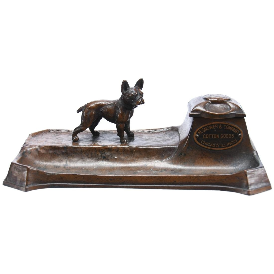 Bronze Figural Advertising Inkwell with Pen Tray